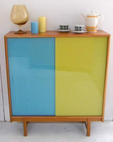 Retro Vintage Teak Bookcase Sideboard Mid Century 60's 70's Coloured Glass Doors | eBay