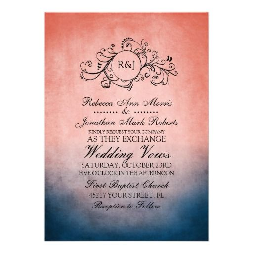 Navy and Coral Wedding Invitations | this classy dark navy blue and coral pink colored invitation features ...