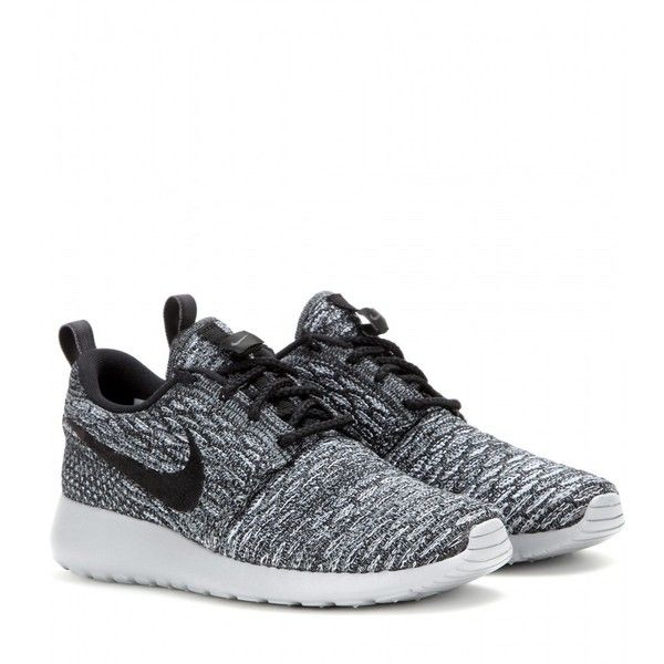 Nike Nike Rosherun Flyknit Sneakers found on Polyvore featuring shoes, sneakers, nike, grey, nike trainers, gray sneakers, grey shoes and grey sneakers