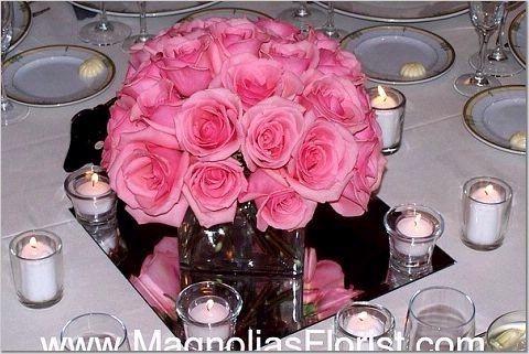 Hot pink centerpiece