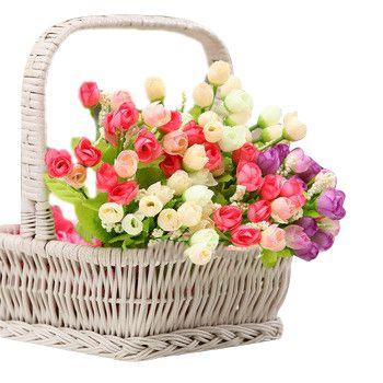 Outono de 15 cabeças/bouquet pequeno broto rosas bráctea simulação flores de seda rosa Flores decorativas Início decorações para Casamento