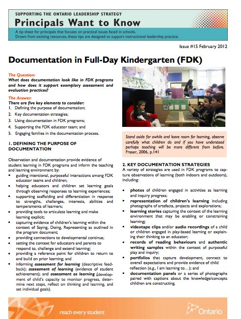 Documentation in Full Day Kindergarten (Ontario)