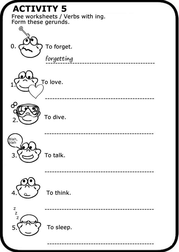 Pin En Gerund Free Worksheets To Print