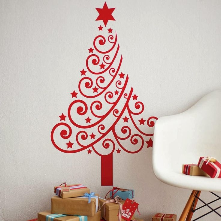 Beautiful Wall Red Christmas Tree With Nice Star Decals Cool Chriistmas  Holiday DIY Decorating Ideas For Wall. DIY Christmas Wall Decorations: When  ...
