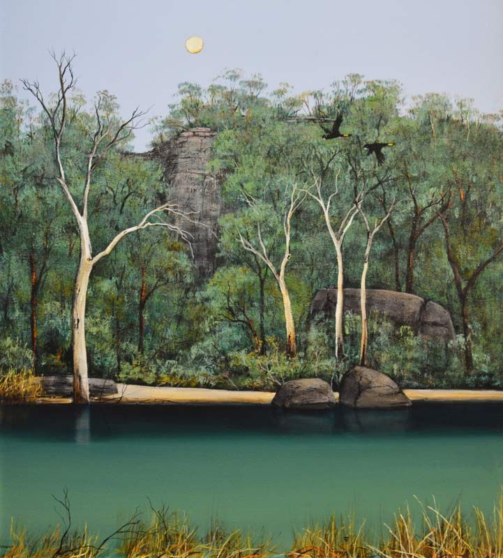 Ingrid Windram - Fine Art - Acrylic - Yellow Tails South West - Trees - River - Moon - Painting