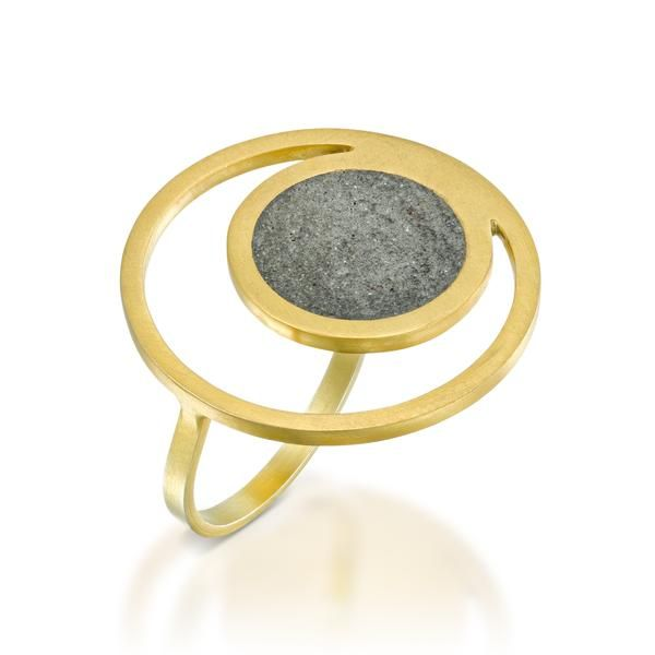 Orbit Concrete Ring, by BAARA Jewelry.  #statementring #goldring #ring #concrete #concretejewelry #handmade