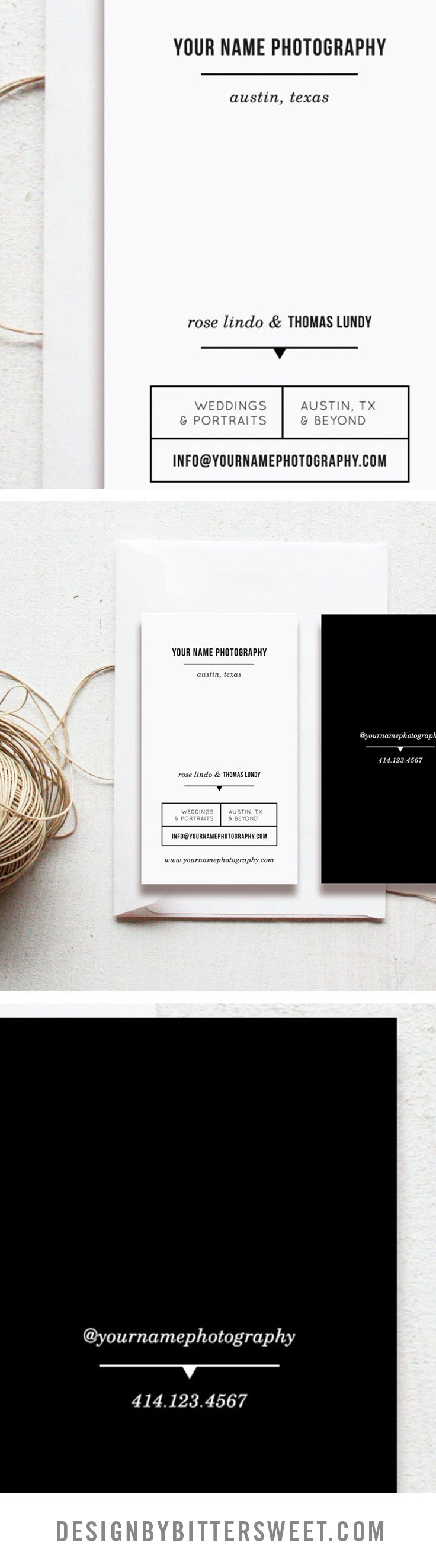 Business cards for wedding photographers. Photoshop templates for photography. Business card template.