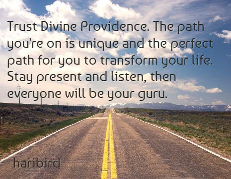 Trust Divine Providence. The path you're on is unique and the perfect path for you to transform your life. Stay present and listen, then everyone will be your guru. / haribird