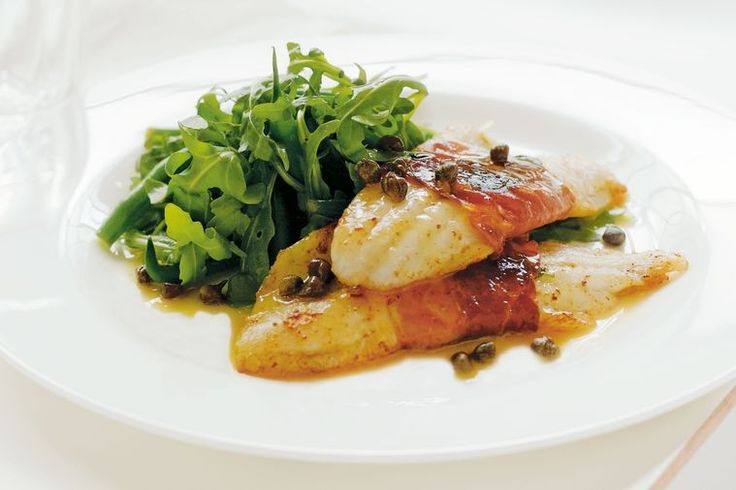Pan-seared whiting with capers