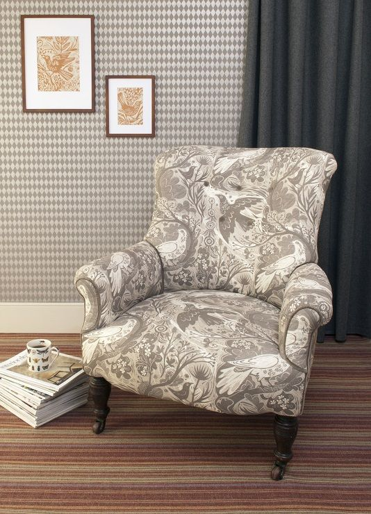 The Knight Chair, Re Upholstered In Doveflight With Velvet Contrast Piping  And Button Detailing