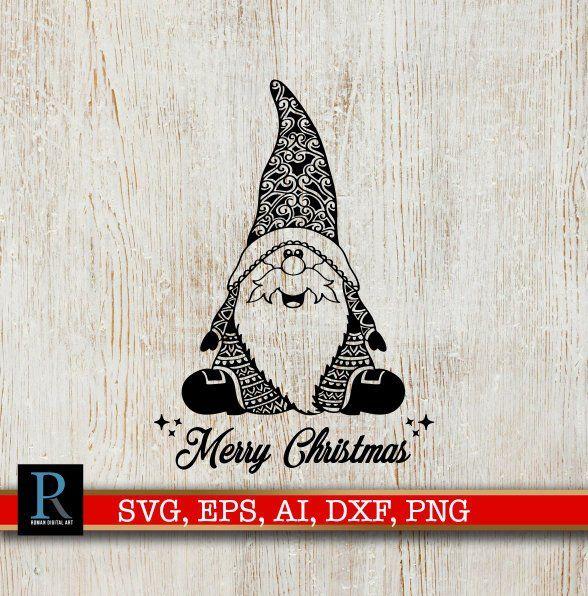 Mandala Santa Gnome Svg Merry Christmas Svg Christmas