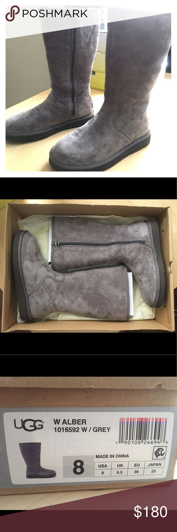 Ugg Alber boots 8 Grey These a brand new Ugg boots! They zipper closed on the inside of the calf and they have rubber souls, as opposed to just the foam bottoms like original uggs. These are perfect for cold weather and much sturdier. UGG Shoes Winter & Rain Boots