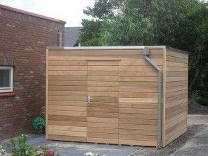 Design tuinhuis type Kubus gefabriceerd uit red cedar hout.. zeer strak en modern.. http://www.1001tuinhuisjes.nl/modern-tuinhuis-red-cedar-356.html
