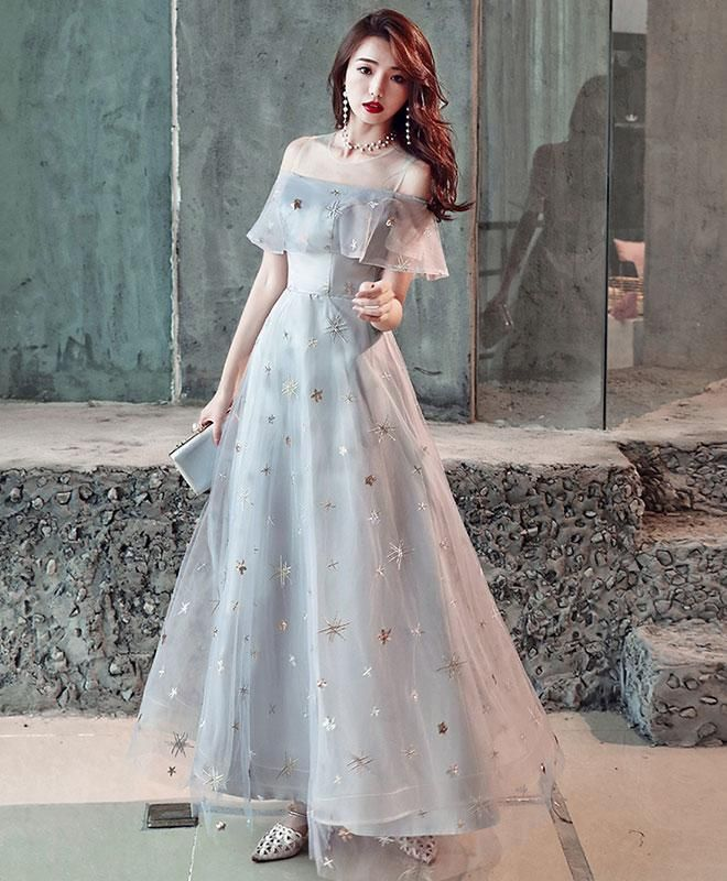 c67a8a9b7a Gray tulle tea length prom dress