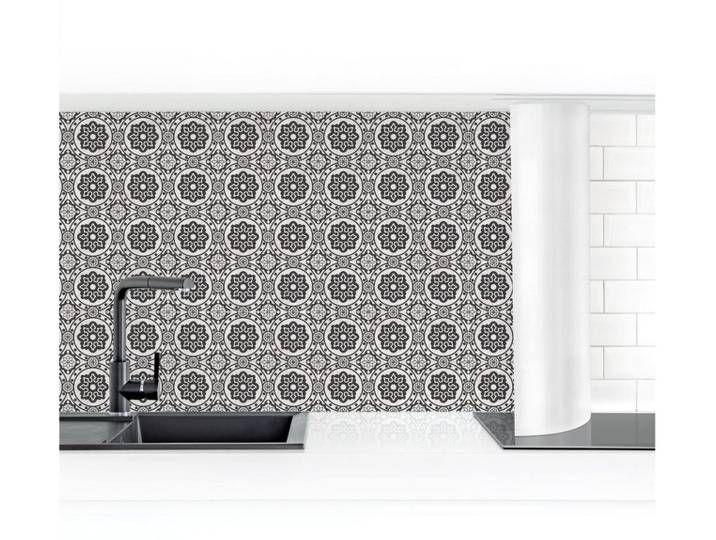 Bilderwelten Küchenrückwand »Florale Fliesen schwarz weiß