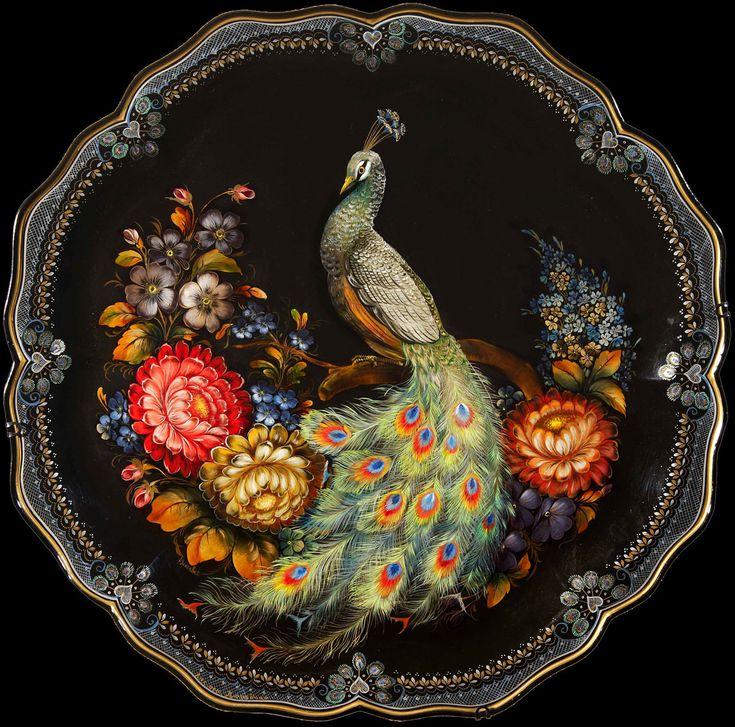 the Russian art of Zhostovo, peacock inspired