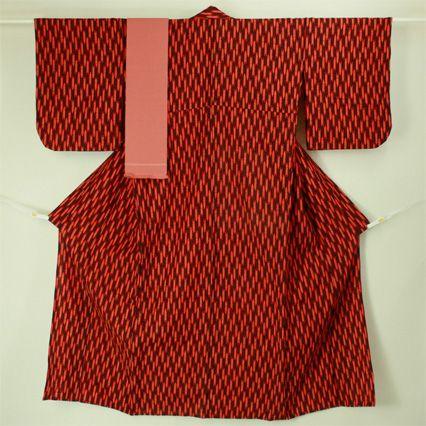 Orange red, wool michiyuki set / お若い方向き オレンジ系 矢絣柄 ウール道行アンサンブル帯付きセット