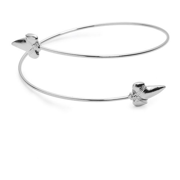 Silver Minimalist Arm Cuff ($5) ❤ liked on Polyvore featuring jewelry, bracelets, silver jewelry, silver bangles, silver jewellery, silver body jewelry and body jewellery
