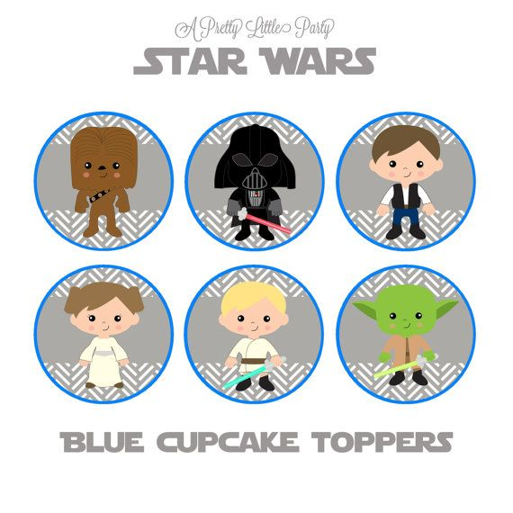 Star Wars Cupcake Toppers in Blue - Character Cupcake Toppers - Star Wars - Party Supplies - INSTANT DOWNLOAD