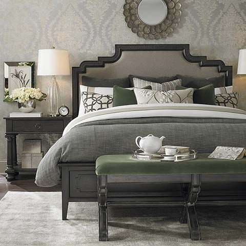 Emporium Upholstered Bed by Bassett Furniture. Inspired by European 19th Century antiques that create an eclectic mix of found unique items.