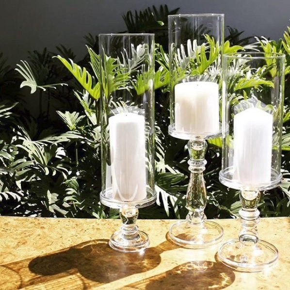 Vintage 12 Peice Glass Hurricane Set Glass Pillar Candle Holders Pillar Candle Centerpieces Glass Pillar Candle