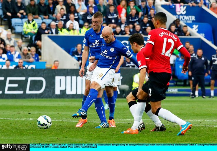 Leicester 5 United 3: Cambiasso scores to make it 3-3 at the King Power Stadium on Sept. 21st. 2014: