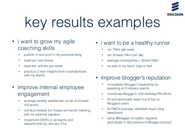 Image Result For Okr Examples | Agile Performance Management: Okrs
