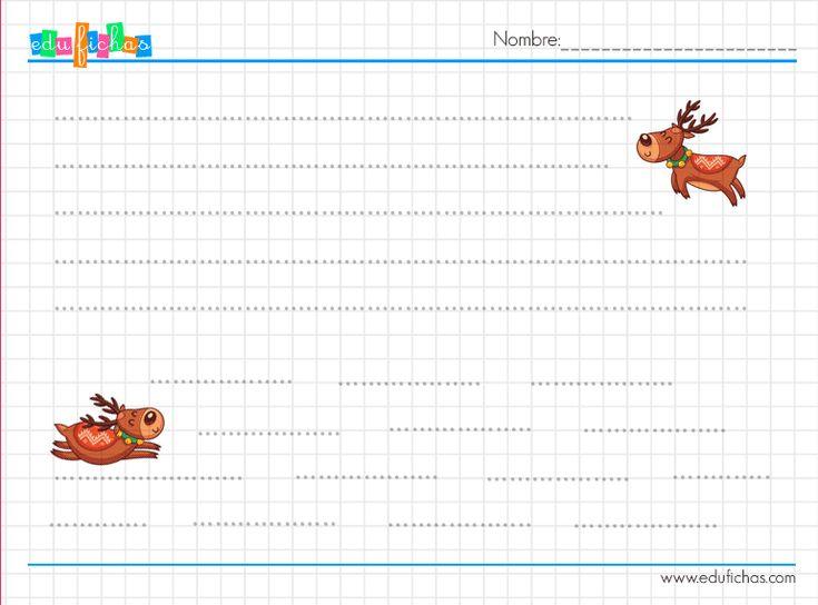 Grafomotricidad con dibujos de renos   http://www.edufichas.com/actividades/navidad/grafomotricidad-navidad-renos/  #2años #3años #preescolar #grafomotricidad #trazos #rectas #lineas #infantil #paraniños
