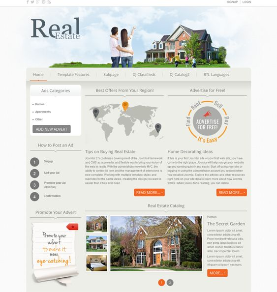 This Joomla real estate template has a responsive layout, a classifieds component, CSS3 animations, demo content, Google Web Fonts, a Bootstrap framework, image slider and catalog extensions, collapsible module positions, and more.