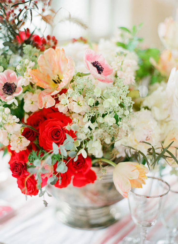 Red + Blush Wedding Inspiration || Centerpiece || See more on SMP: http://www.StyleMePretty.com/2014/02/17/romantic-red-wedding-inspiration/ KT Merry Photography