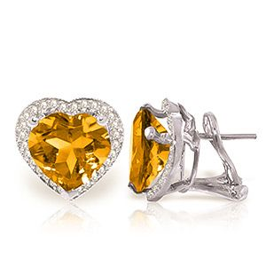 Citrine and Diamond French Clip Halo Earrings 6.2ctw in 9ct White Gold #Gemstones #Jewellery #GemstoneJewellery