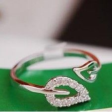 R086 2016 new (or) two anti - Drilling retro leaves - Korean female couple rings influx of people jewelry free shipping