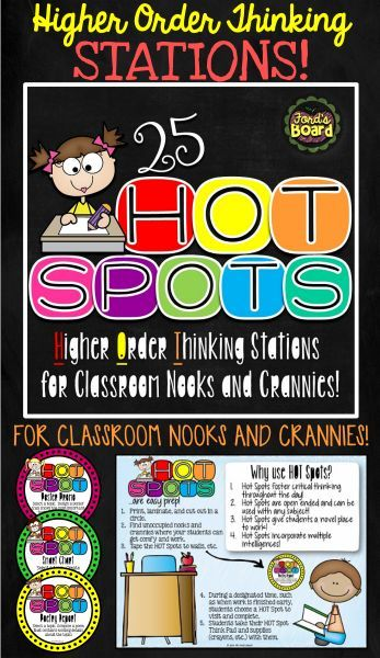 Incorporate more higher order thinking activities into your students' school day by using H.O.T. Spots! This set of 25 circular task cards contains engaging higher order thinking assignments and is created to be placed in unoccupied nooks and crannies in your classroom. All activities are open ended and may be used with a variety of topics over and over again!