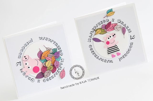 Peppa pig invitations, handmade, birthday party, autumn