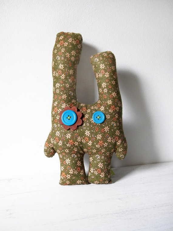 Green bunny  floral cute stuffed animal by coccinellina on Etsy, $22.00