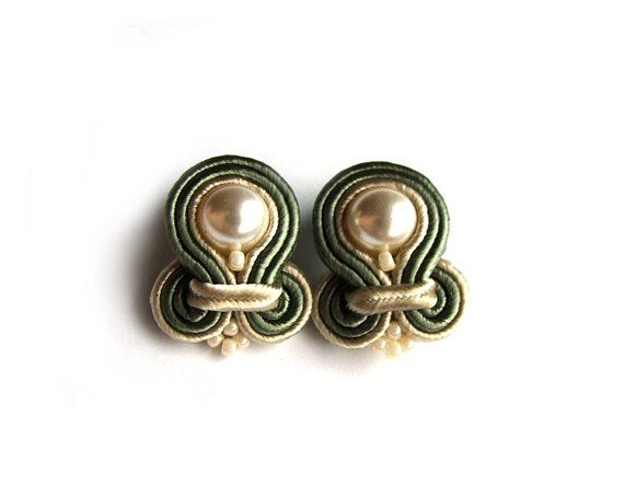 Soutache stud earrings handmade post earrings by SaboDesign, $25.00