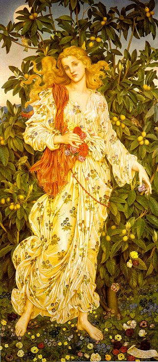 """""""Lady Flora, Goddess of Blossoms and Flowers"""", 1880, by Evelyn de Morgan (English, 1855-1919). This work derives from de Morgan's studies of Botticelli, particularly """"Primavera"""" and """"The Birth of Venus"""", at the Uffizi gallery in Florence. In Roman mythology, the nymph Chloris is transformed into the goddess Flora,  the Mother of Flowers."""
