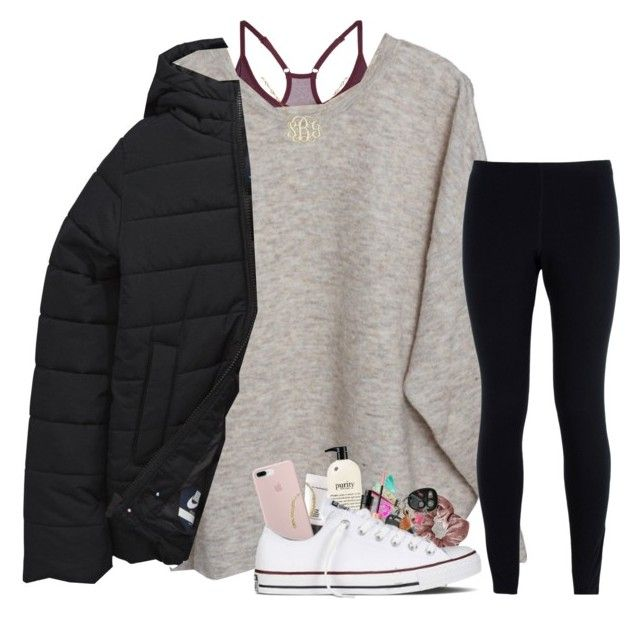 """ootd"" by prepstergab ❤ liked on Polyvore featuring NIKE, American Vintage, MAC Cosmetics, philosophy, Sterling Forever and Converse"