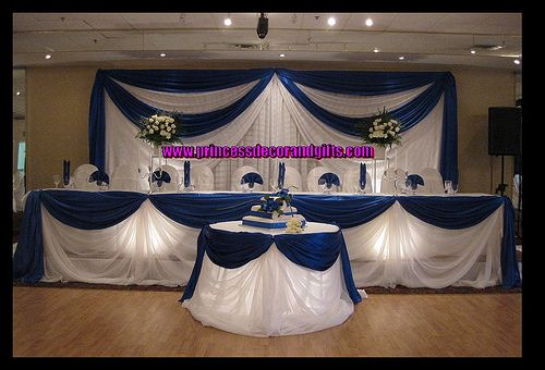 Tall Wedding Centerpieces Royal Blue | Royal Blue Satin Backdop with Spot Lighting by Princess Decor ...