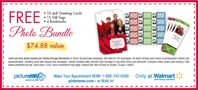 Expires Nov 6  Get a FREE Photo Bundle Coupon from PictureMe Portrait Studios located in Walmart! Bundle includes 10 - 4x8 Greeting Cards, 15 Gift Tags and 4 Bookmarks. *See coupon for more details. http://www.thecafecoupon.com/2012/10/pictureme-portrait-studio-coupons-free.html