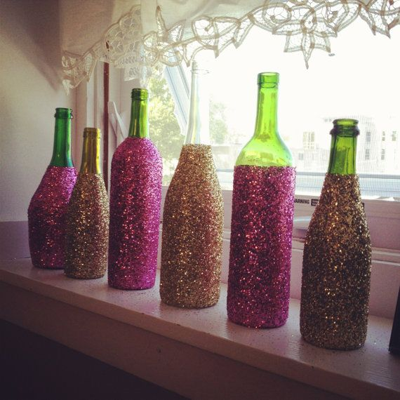 Glitter Glass Wine Bottles, Decorative Wine Bottles, Custom Home Decor