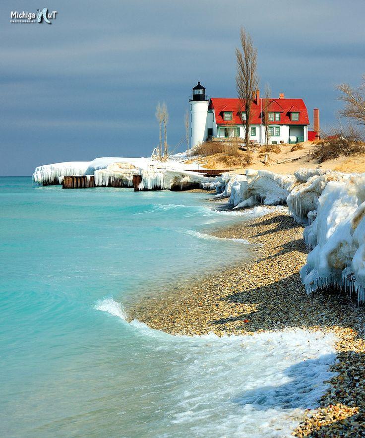 """Aqua Blue""  Spring thaw at Point Betsie lighthouse"