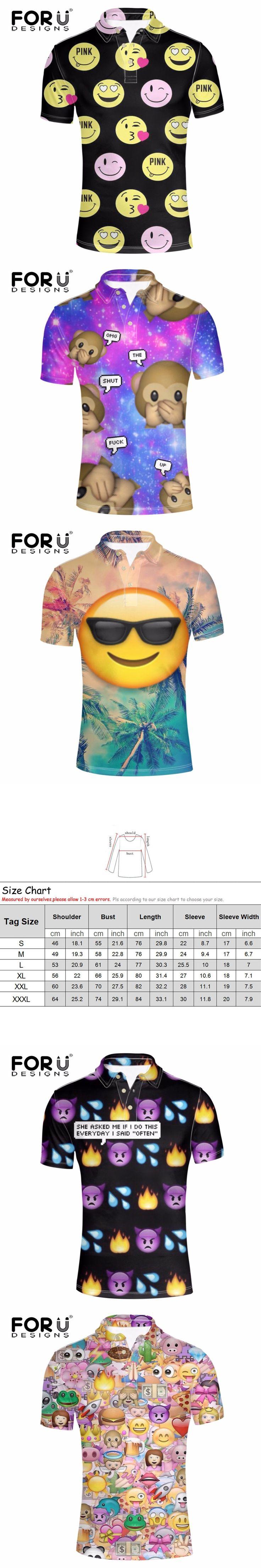 FORUDESIGNS Funny Emoji Print Polo Shirt for Man Summer Short Sleeve Fitness Casual Shirt Male Polo Shirt Brand Clothing Camisa