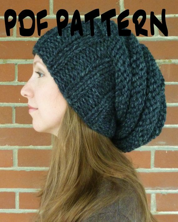 Knit Hat Pattern, Knitting Hat Pattern, Womens Slouchy Beehive Hat Patte...