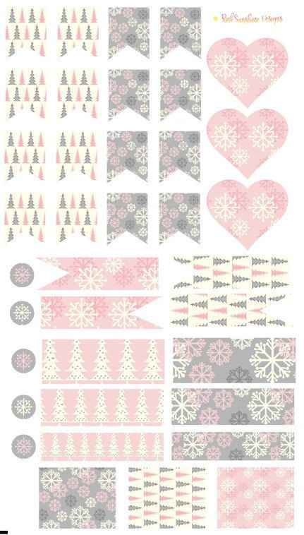 Pink and Gray Christmas Trees and Snowflakes Page Flags, Hearts, Circles amd half Box Stickers Planner Stationery by PinkSunshineSupplies on Etsy