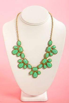 Gem Class Mint Green Statement Necklace