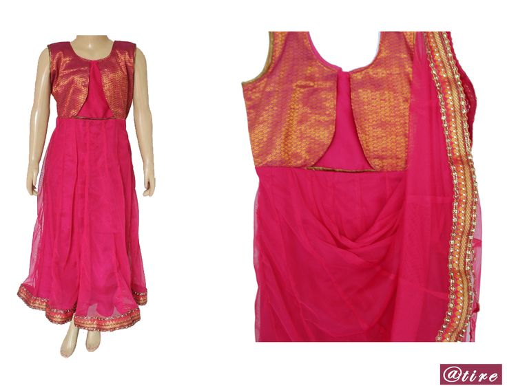 MRP 850  Your little doll can't afford to look ordinary at her favourite aunt's wedding! Dress her up in this pretty, pink  coloured gown that will certainly make her the cynosure of all eyes.Made from spot mesh fabric which makes this dress light in weight and easy to carry along . The brocade bodice and beautifull embellishments at the bottom enhances the look. A must have ethnic wear perfect for any occasion. Color: Pink  Fabric : Soft Net, Brocade. Santoon Silk Lining