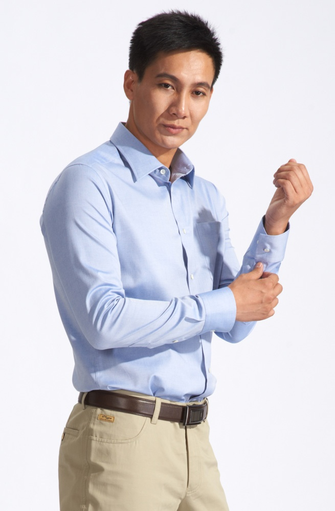 Bright Light Blue Tailored Shirt For Men Dress Shirt