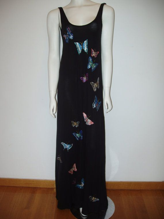 Hand painted long black  sleaveless  summer dress flying butterflies