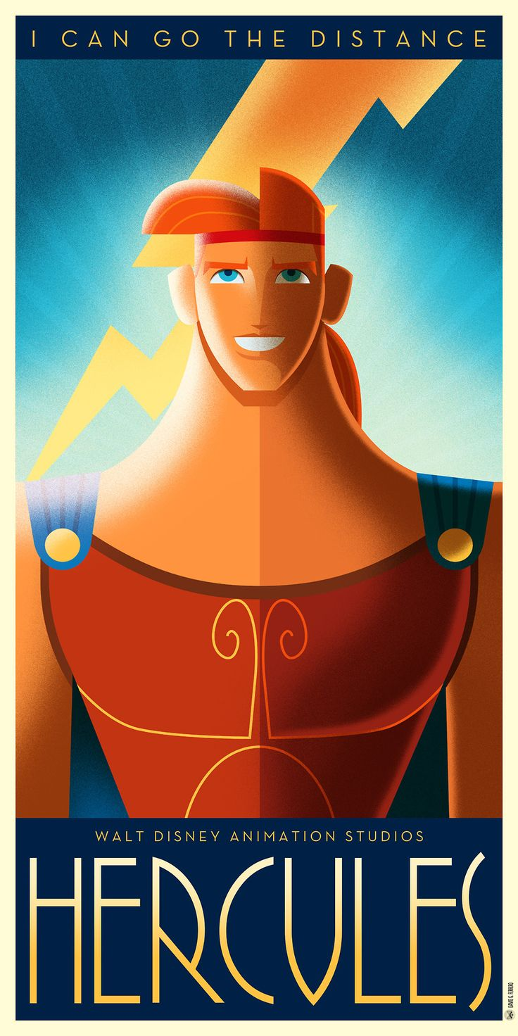Hercules poster in an Art Déco retro style.